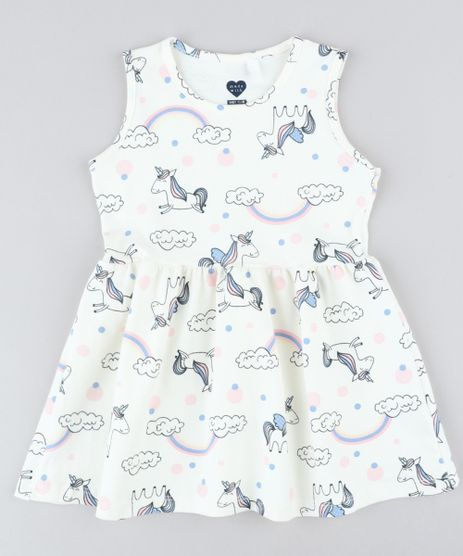 Vestido-Infantil-Estampado-de-Unicornios-Sem-Manga-Decote-Redondo-Off-White-9415477-Off_White_1