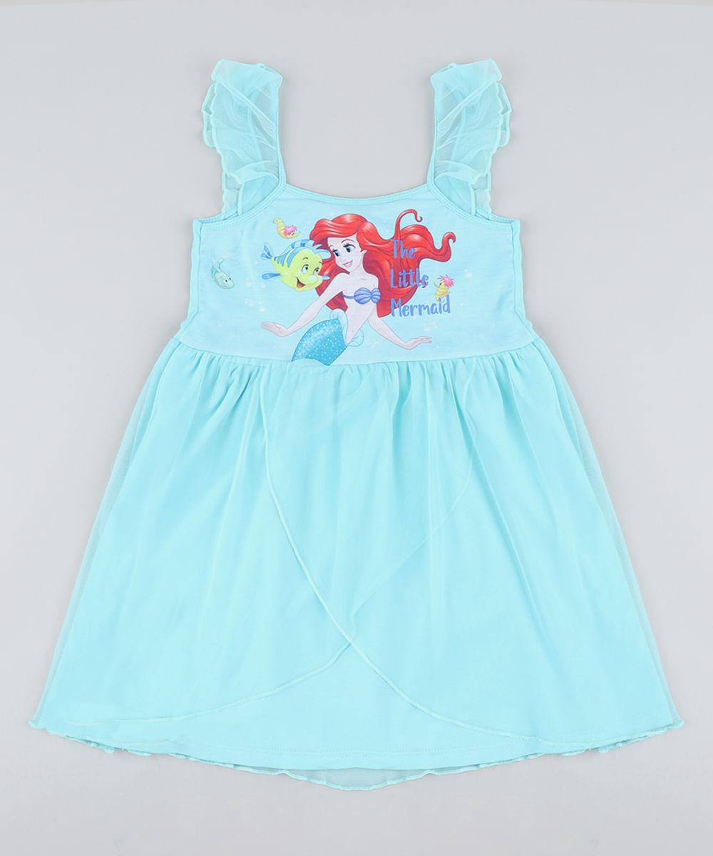 4c27a9eae0 Camisola Infantil Pequena Sereia Ariel com Tule Sem Manga Verde Água ...