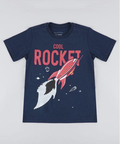 7db01ed55d Camiseta Infantil Foguete com Paetê Dupla Face Manga Curta Gola ...