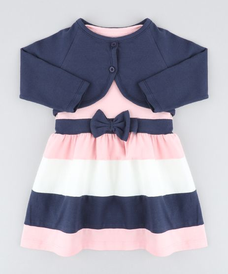 Conjunto-Infantil-de-Vestido-Rosa-Claro---Bolero-Azul-Marinho-9428807-Azul_Marinho_1