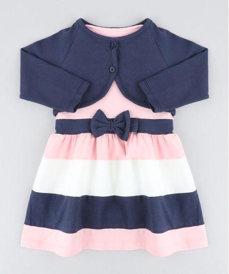 3e216576e Vestido Infantil Sem Manga Rosa Claro + Bolero Manga Longa Azul ...