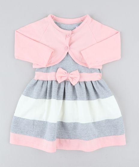Conjunto-Infantil-de-Vestido-Cinza-Mescla---Bolero-Rosa-Claro-9428806-Rosa_Claro_1