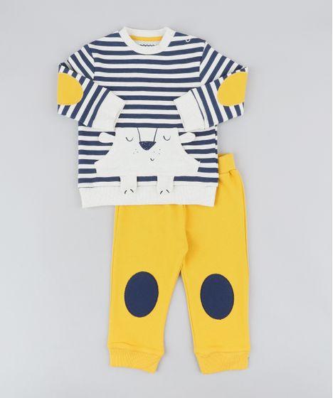 0409156148 Conjunto Infantil Urso de Blusão Listrado Bege Claro + Calça em ...