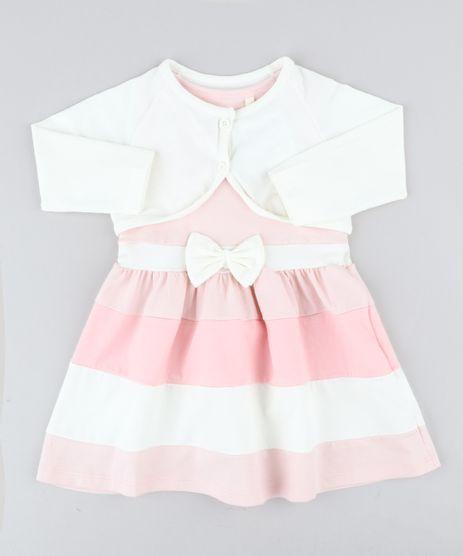 Conjunto-Infantil-de-Vestido-Rosa-Claro---Bolero-Off-White-9428804-Off_White_1