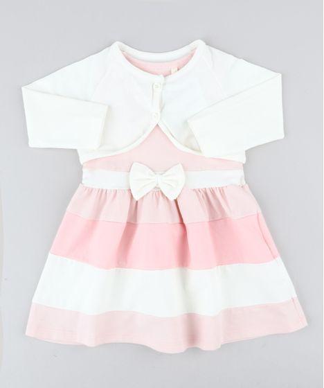 a96aaf2162451 Vestido Infantil Sem Manga Rosa Claro + Bolero Manga Longa Off White