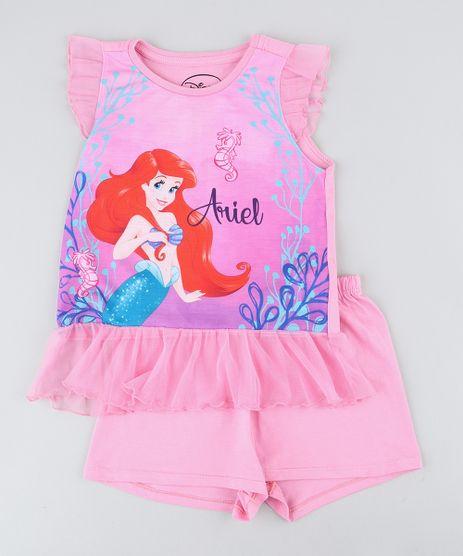 Pijama-Infantil-Pequena-Sereia-Ariel-com-Tule-Regata-Rosa-9418638-Rosa_1