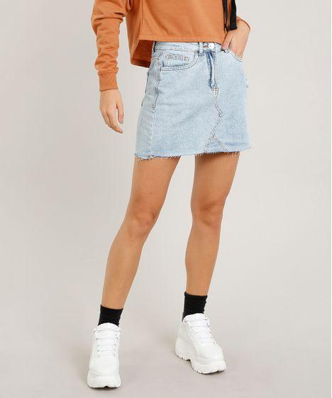 7321e492e7 Saia Jeans Feminina Curta Evasê com Rasgos Azul Claro - cea