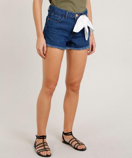 Short-Jeans-Feminino-Reto-com-Bandana-Azul-Escuro-9299951-Azul_Escuro_1