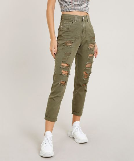 Calca-de-Sarja-Feminina-Mom-Pants-Destroyed-Verde-Militar-9463403-Verde_Militar_1