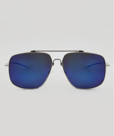 Oculos-de-Sol-Quadrado-Masculino-Oneself-Prateado-9510043- ... 332fafdd02