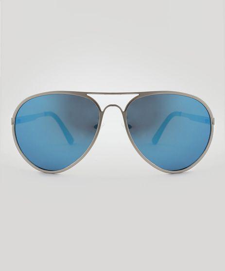 2cdc555423b Oculos-de-Sol-Aviador-Unissex-Oneself-Prateado-9510050-