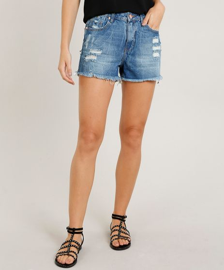 Short-Jeans-Feminino-Vintage-Destroyed-com-Barra-Desfiada-Azul-Medio-9470050-Azul_Medio_1
