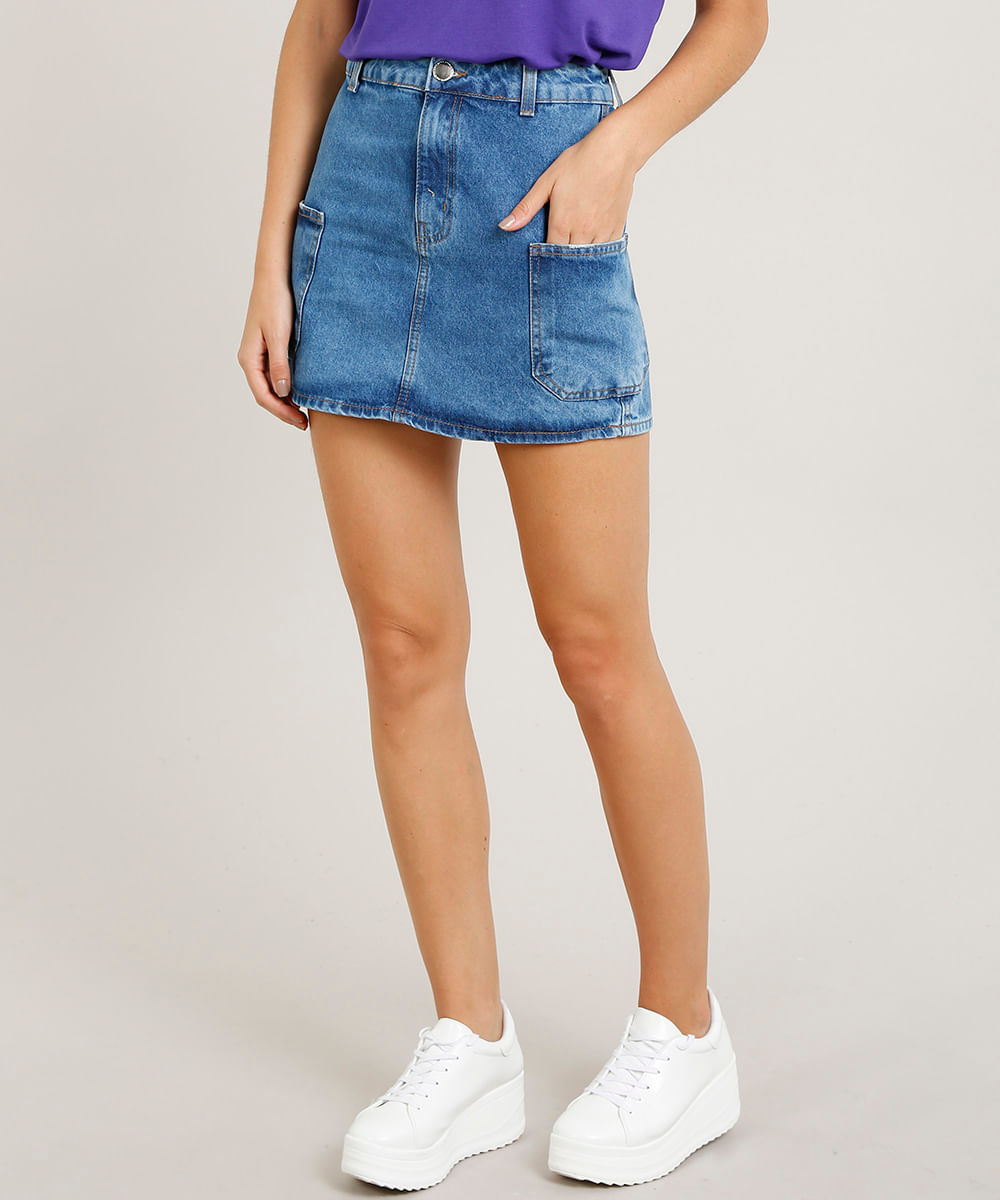 515b147aa ... Saia-Jeans-Feminina-Cargo-Azul-Medio-9458559-Azul Medio 1