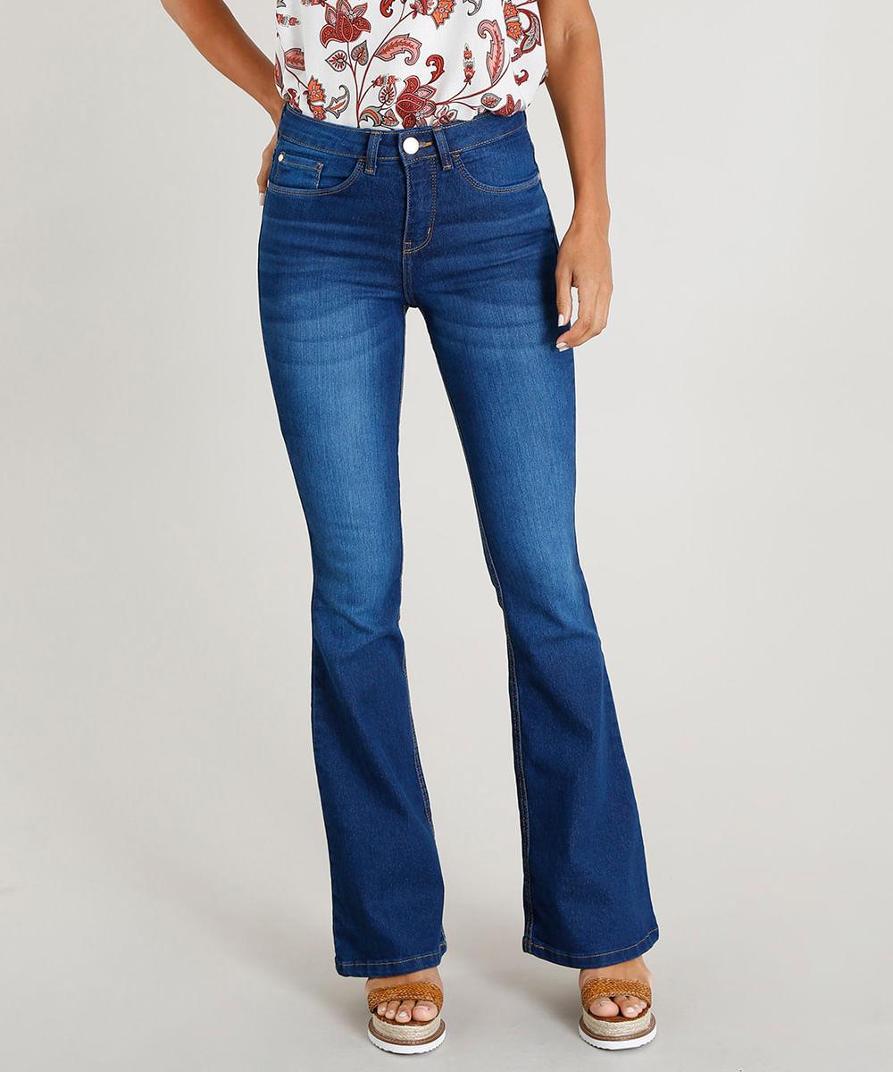 e7a2be296 Calça Jeans Feminina Flare Cintura Alta Azul Escuro - cea