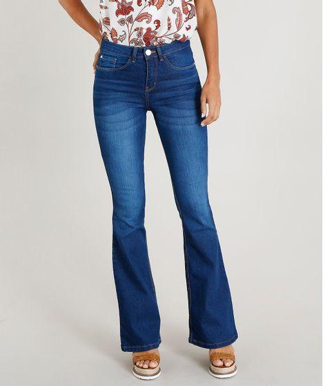 1067d29fa Calça Jeans Feminina Flare Cintura Alta Azul Escuro - cea