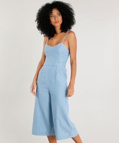 Macacao-Jeans-Pantacourt-Feminino-com-Bolsos--Azul-Claro-9244407-Azul_Claro_1