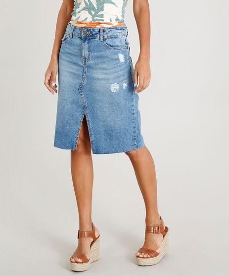 Saia-Jeans-Feminina-Midi-com-Fenda-Azul-Claro-9470052-Azul_Claro_1