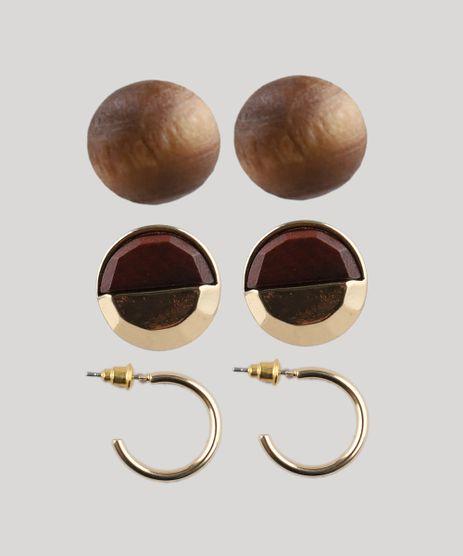 Kit-de-3-Brincos-Femininos-Dourado-9413845-Dourado_1