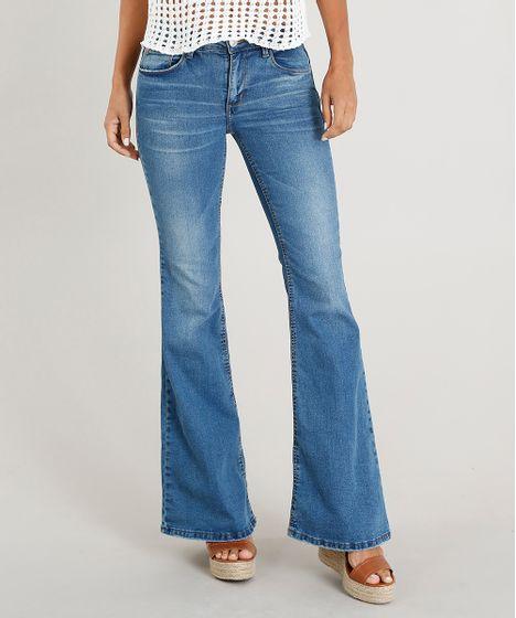 50b3f41a1 Calça Jeans Feminina Flare com Bolsos Azul Médio - cea