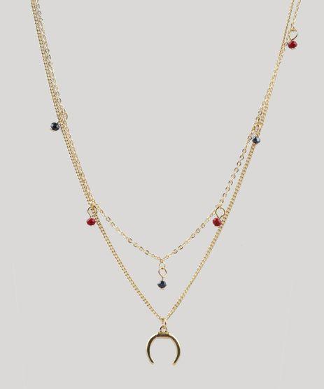 Colar-Feminino-Duplo-com-Pingentes-Dourado-9413841-Dourado_1