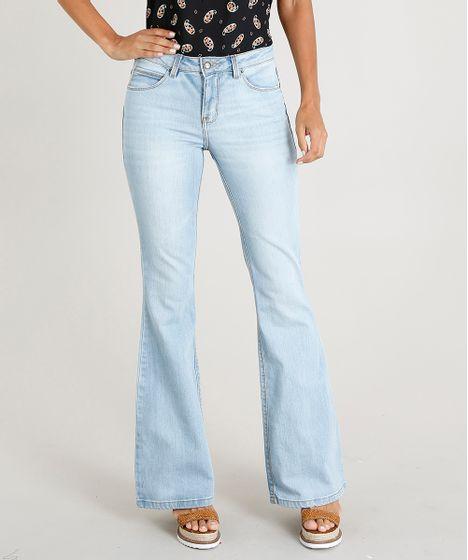 7290d37a0 Calça Jeans Feminina Flare Cintura Alta Azul Claro - cea