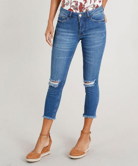 Calca-Jeans-Feminina-Cropped-com-Rasgos-Azul-Medio-9458582-Azul_Medio_1