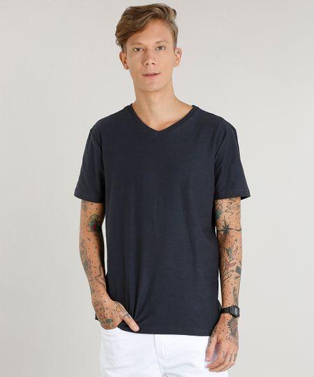 9e8142f6b Menor preço em Camiseta Masculina Básica Flamê Manga Curta Gola V Chumbo