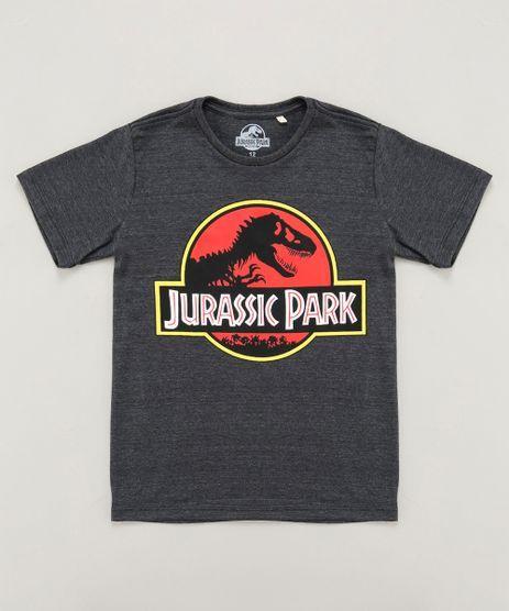 Camiseta-Infantil-Jurassic-Park-Manga-Curta-Gola-Careca-Cinza-Mescla-Escuro-8484879-Cinza_Mescla_Escuro_1