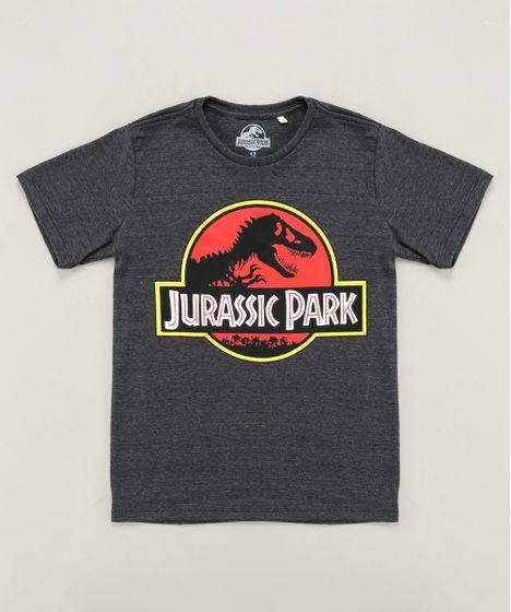 444ac904368c0 Camiseta Infantil Jurassic Park Manga Curta Gola Careca Cinza Mescla ...