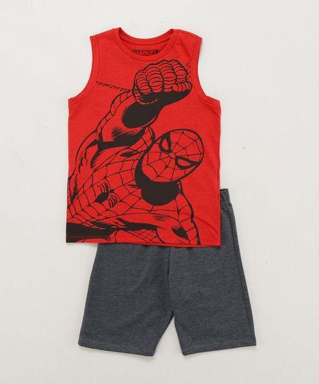 Conjunto-Infantil-Homem-Aranha-de-Regata-Vermelha-Gola-Careca---Bermuda-em-Moletom-Cinza-Mescla-Escuro-9243535-Cinza_Mescla_Escuro_1