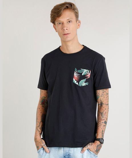 Camiseta-Masculina-com-Bolso-Estampado-de-Folhagem-Manga-Curta-Gola-Careca-Preta-9419282-Preto_1