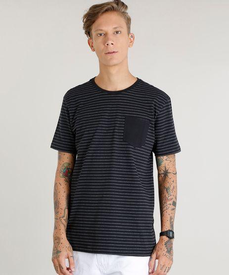 Camiseta-Masculina-Basica-Listrada-com-Bolso-Manga-Curta-Gola-Careca-Preta-9457721-Preto_1