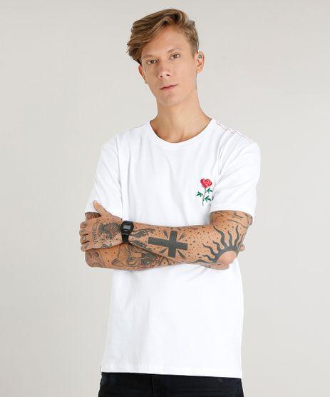 Camiseta-Masculina-com-Bordado-de-Rosa-Manga-Curta-Decote-Careca-Branca-9419277-Branco_1