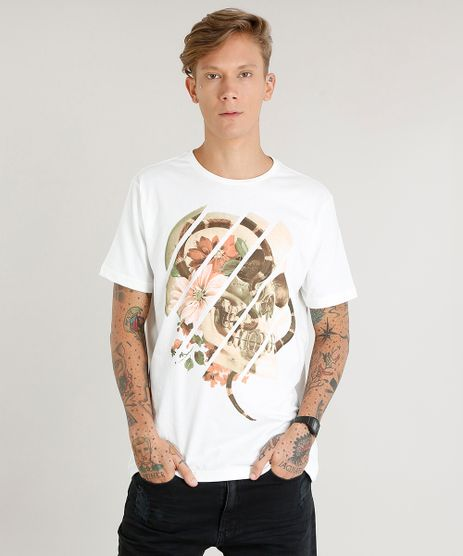 Camiseta-Masculina-com-Estampa-de-Caveira-Manga-Curta-Gola-Careca-Off-White-9469495-Off_White_1
