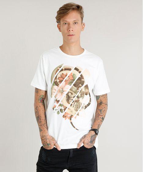 d1663b9f3fc9 Camiseta Masculina com Estampa de Caveira Manga Curta Gola Careca ...