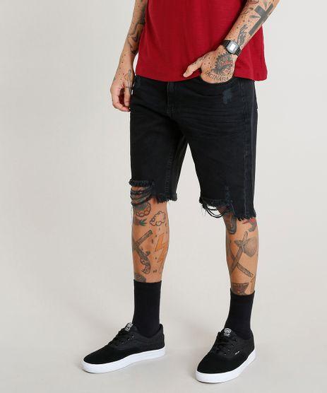 Bermuda-Jeans-Masculina-Slim-Destroyed-Preta-9447312-Preto_1