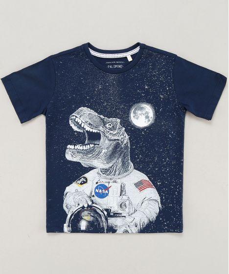 177de0cfca2c2 Camiseta Infantil Dinossauro Astronauta Manga Curta Gola Careca Azul ...