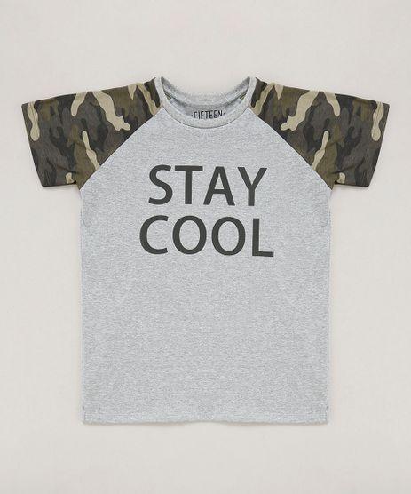 Camiseta-Infantil--Stay-Cool--Raglan-Manga-Curta-Gola-Careca-Cinza-Mescla-9442120-Cinza_Mescla_1