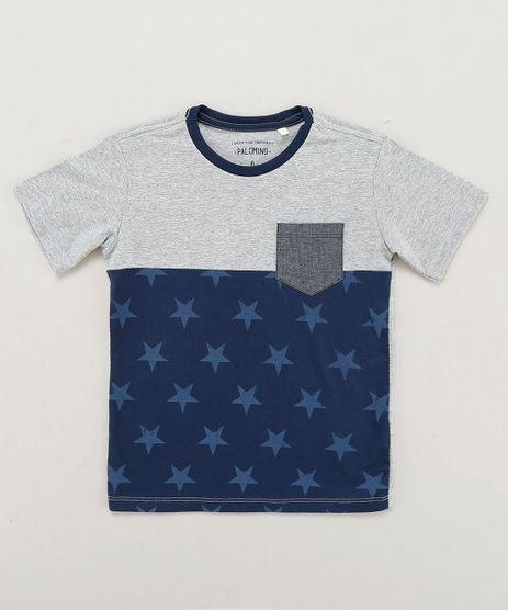 Camiseta-Infantil-com-Recorte-e-Bolso-Manga-Curta-Gola-Careca-Cinza-Mescla-9442040-Cinza_Mescla_1