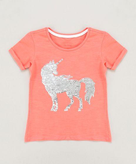 Blusa-Infantil-Unicornio-com-Paete-Dupla-Face-Manga-Curta-Decote-Redondo-Coral-9443542-Coral_1