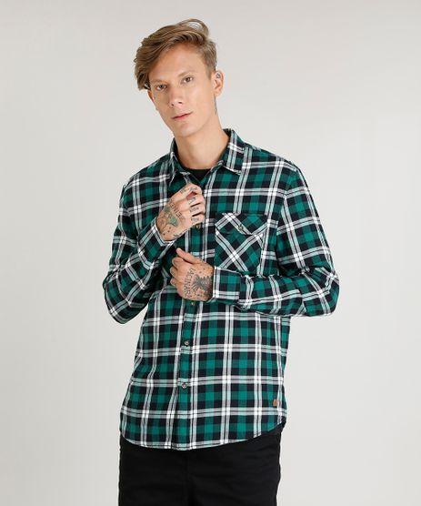 Camisa-Masculina-em-Flanela-Estampada-Xadrez-com-Bolsos-Manga-Longa-Verde-9373515-Verde_1