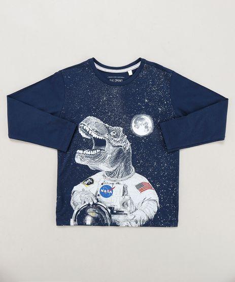 Camiseta-Infantil-Dinossauro-Astronauta-Manga-Longa-Gola-Careca-Azul-Marinho-9442027-Azul_Marinho_1