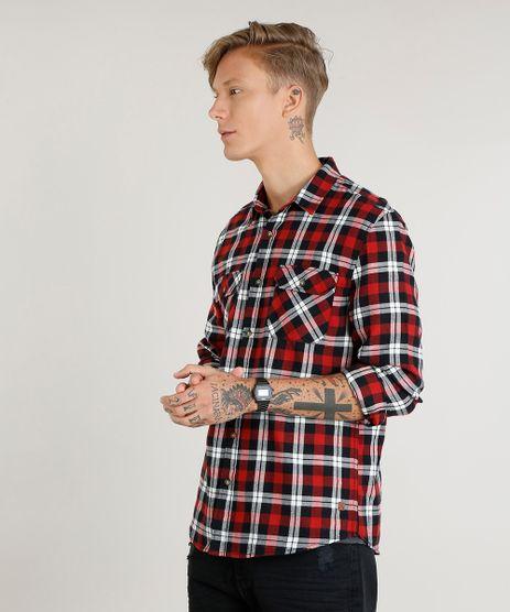Camisa-Masculina-em-Flanela-Estampada-Xadrez-com-Bolsos-Manga-Longa-Vermelha-9373515-Vermelho_1