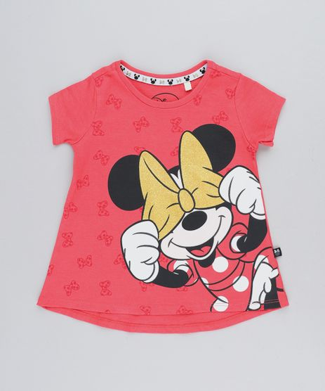 Blusa-Infantil-Minnie-com-Glitter-Manga-Curta-Decote-Redondo-Coral-9422034-Coral_1