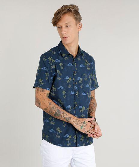 Camisa-Masculina-Estampada-de-Coqueiro-com-Bolso-Manga-Curta-Azul-Marinho-9367430-Azul_Marinho_1
