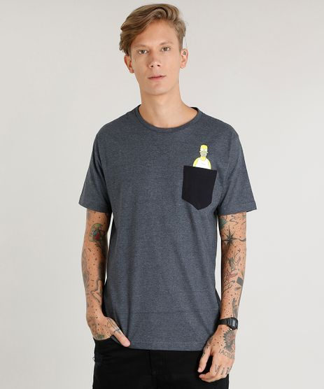 Camiseta-Masculina-Homer-Simpson-com-Bolso-Manga-Curta-Gola-Careca-Cinza-Mescla-Escuro-9451870-Cinza_Mescla_Escuro_1