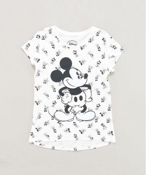 4293d280a Blusa Infantil Mickey Estampada Manga Curta Decote Redondo Off White ...