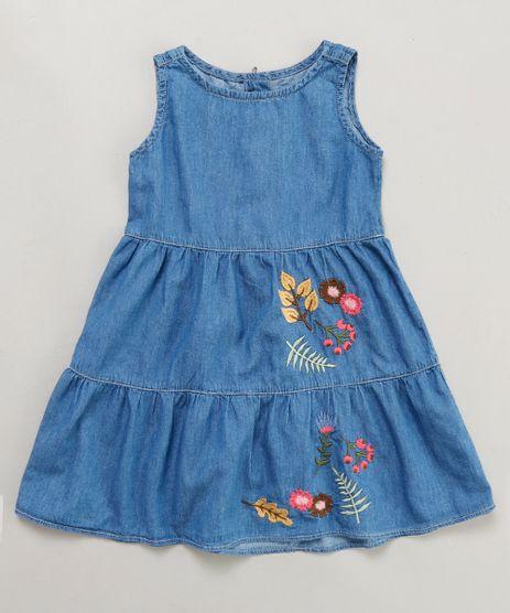 Vestido-Jeans-Infantil-com-Bordado-Sem-Manga-Azul-Medio-9413076-Azul_Medio_1
