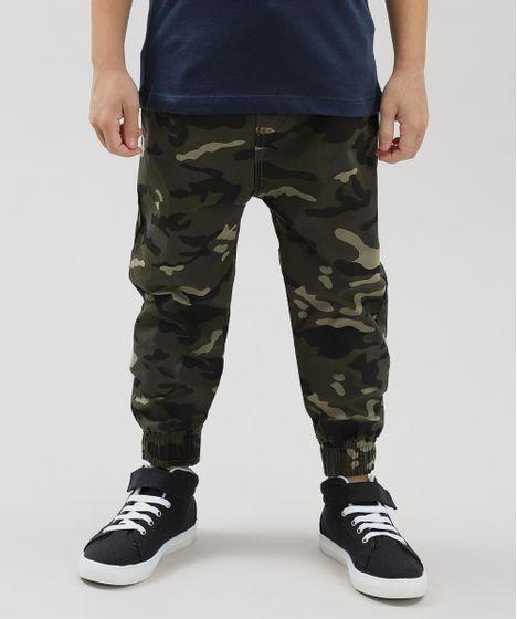 Calça Color Infantil Jogger Estampada Camuflada Verde Militar - cea 8765f2879b1