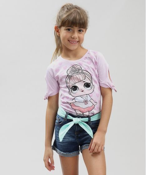 afc0b405d Blusa Infantil LOL Surprise com Glitter Manga Curta Decote Redondo ...